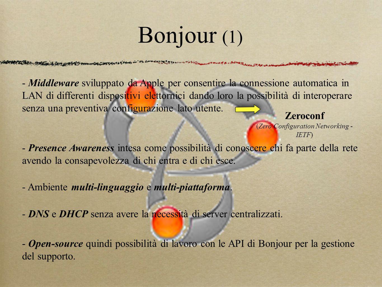 Bonjour (1) - Middleware sviluppato da Apple per consentire la connessione automatica in LAN di differenti dispositivi elettornici dando loro la possibilità di interoperare senza una preventiva configurazione lato utente.