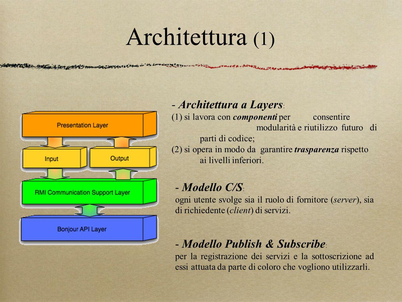 Architettura (1) - Modello C/S : ogni utente svolge sia il ruolo di fornitore (server), sia di richiedente (client) di servizi. - Architettura a Layer