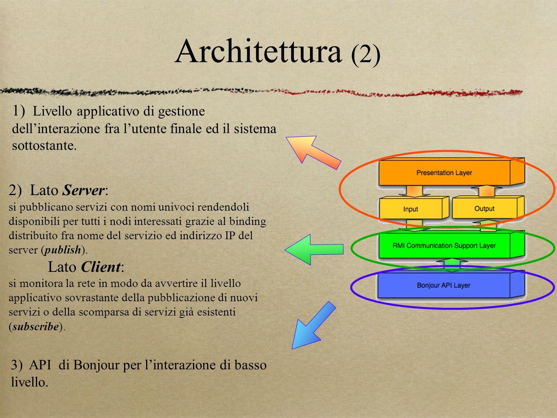 Architettura (2) 3) API di Bonjour per l'interazione di basso livello. 2) Lato Server: si pubblicano servizi con nomi univoci rendendoli disponibili p