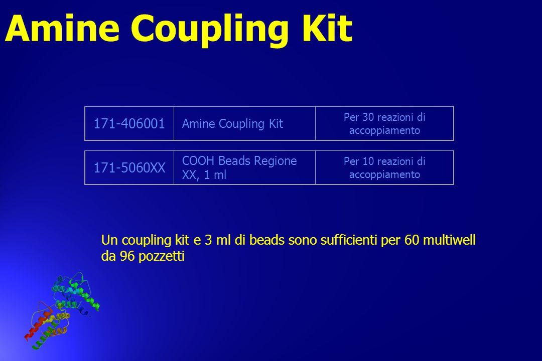 Amine Coupling Kit 171-406001 Amine Coupling Kit Per 30 reazioni di accoppiamento 171-5060XX COOH Beads Regione XX, 1 ml Per 10 reazioni di accoppiame