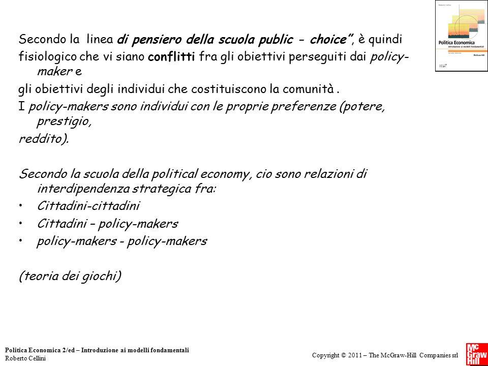 Copyright © 2011 – The McGraw-Hill Companies srl Politica Economica 2/ed – Introduzione ai modelli fondamentali Roberto Cellini Secondo la linea di pe