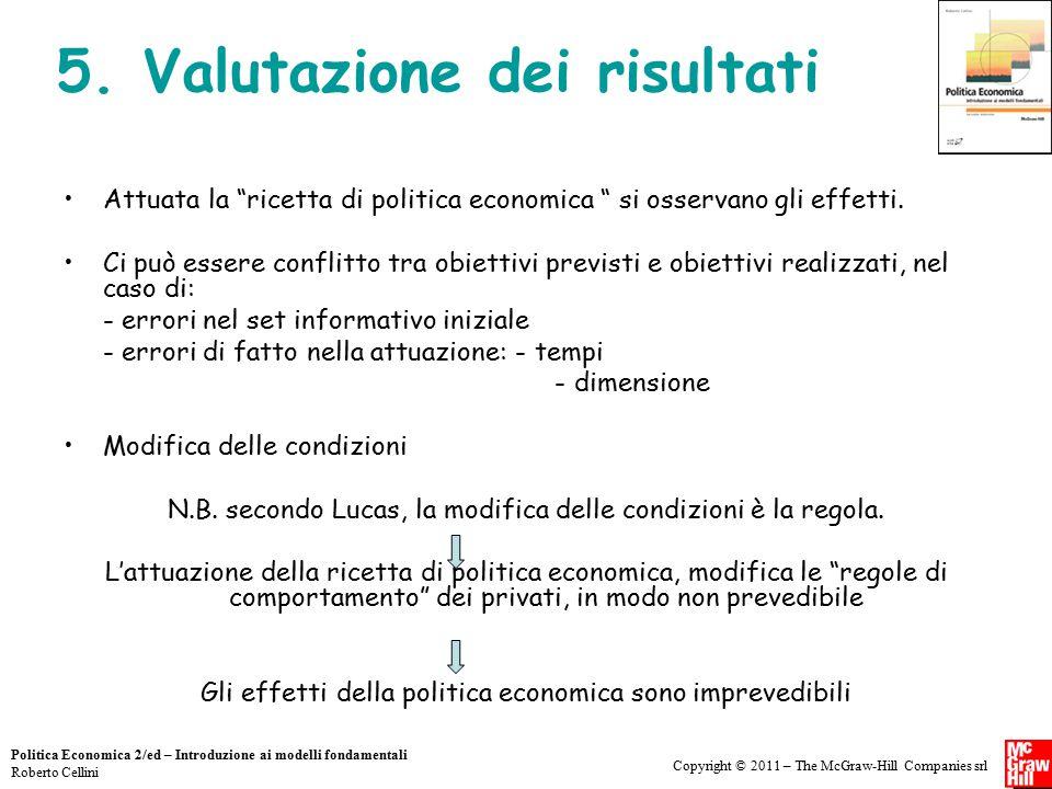 Copyright © 2011 – The McGraw-Hill Companies srl Politica Economica 2/ed – Introduzione ai modelli fondamentali Roberto Cellini 5. Valutazione dei ris