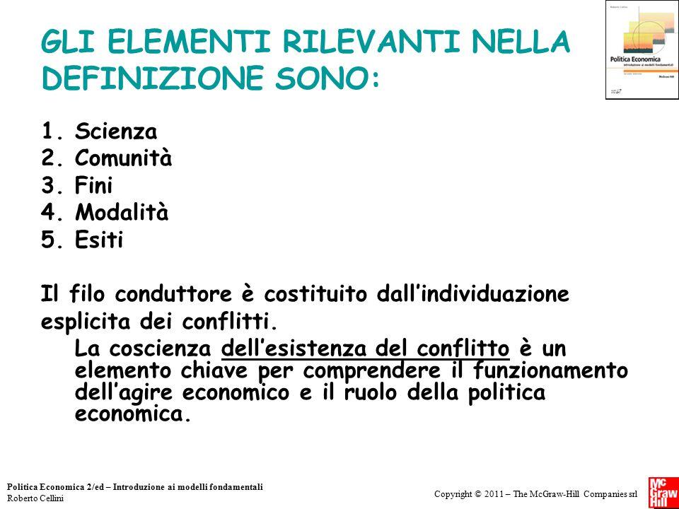 Copyright © 2011 – The McGraw-Hill Companies srl Politica Economica 2/ed – Introduzione ai modelli fondamentali Roberto Cellini GLI ELEMENTI RILEVANTI