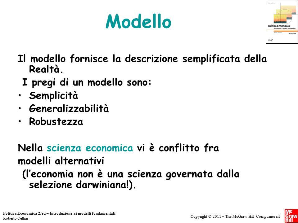 Copyright © 2011 – The McGraw-Hill Companies srl Politica Economica 2/ed – Introduzione ai modelli fondamentali Roberto Cellini Modello Il modello for