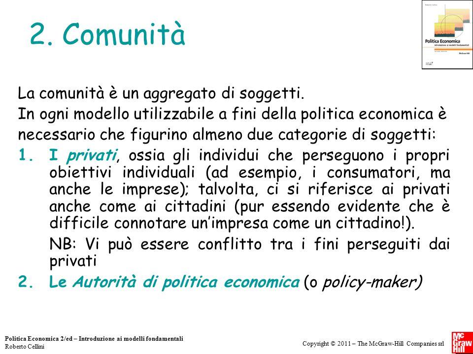 Copyright © 2011 – The McGraw-Hill Companies srl Politica Economica 2/ed – Introduzione ai modelli fondamentali Roberto Cellini 2. Comunità La comunit