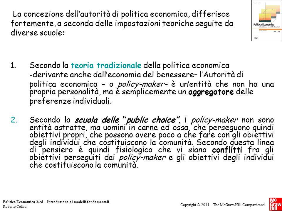 Copyright © 2011 – The McGraw-Hill Companies srl Politica Economica 2/ed – Introduzione ai modelli fondamentali Roberto Cellini 1.Secondo la teoria tr