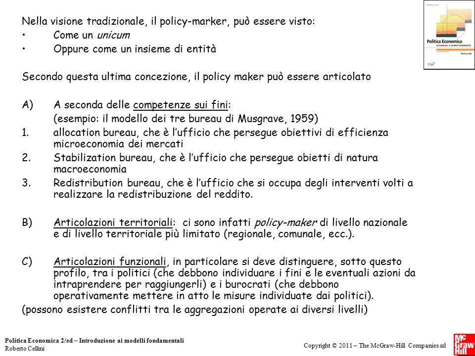 Copyright © 2011 – The McGraw-Hill Companies srl Politica Economica 2/ed – Introduzione ai modelli fondamentali Roberto Cellini Nella visione tradizio