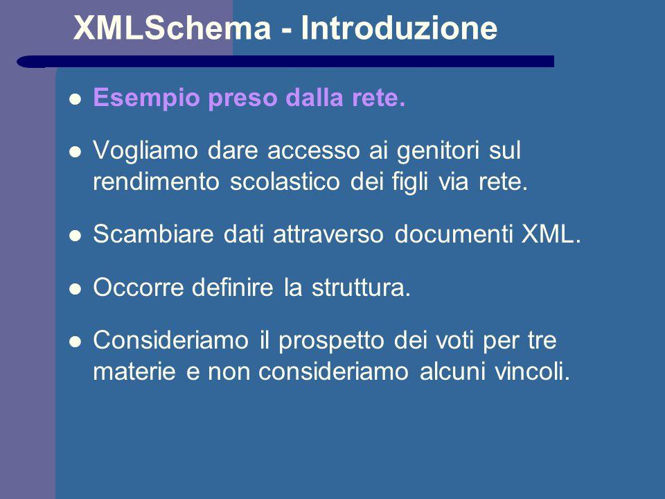 XMLSchema - Introduzione Esempio preso dalla rete. Vogliamo dare accesso ai genitori sul rendimento scolastico dei figli via rete. Scambiare dati attr
