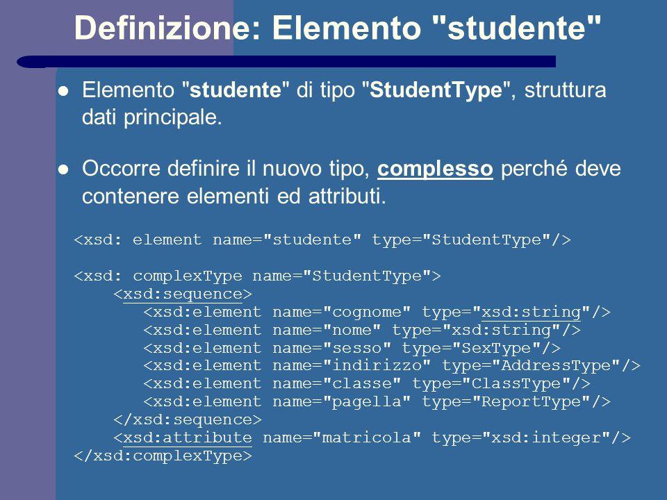 Definizione: Elemento studente Elemento studente di tipo StudentType , struttura dati principale.