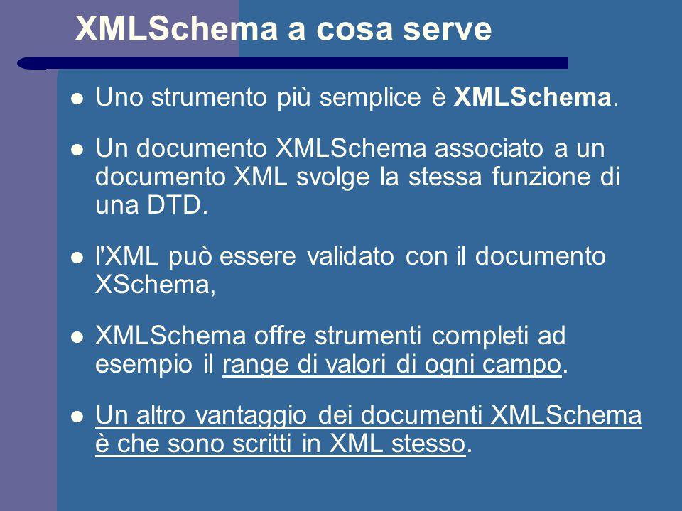 XMLSchema a cosa serve Uno strumento più semplice è XMLSchema. Un documento XMLSchema associato a un documento XML svolge la stessa funzione di una DT