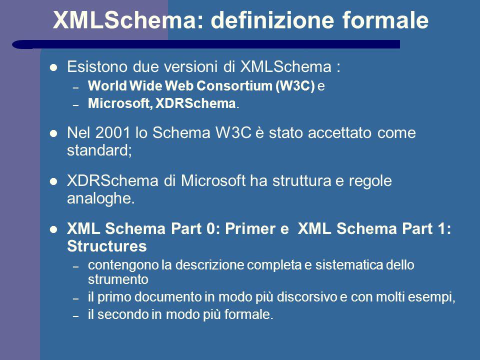 XMLSchema: definizione formale Esistono due versioni di XMLSchema : – World Wide Web Consortium (W3C) e – Microsoft, XDRSchema. Nel 2001 lo Schema W3C