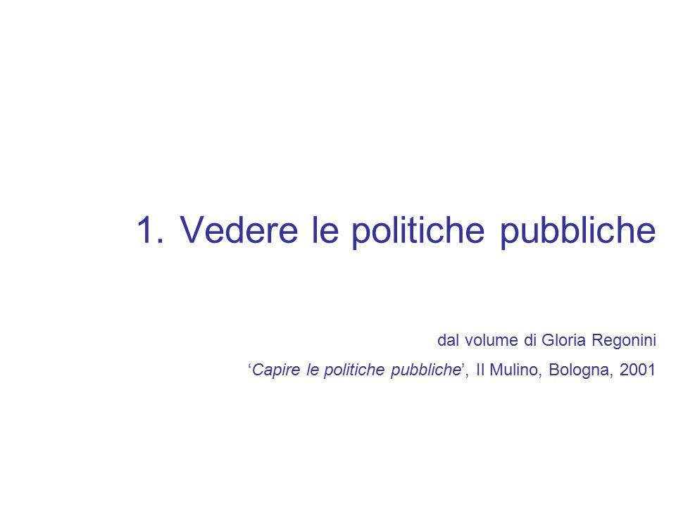 1.Vedere le politiche pubbliche dal volume di Gloria Regonini 'Capire le politiche pubbliche', Il Mulino, Bologna, 2001