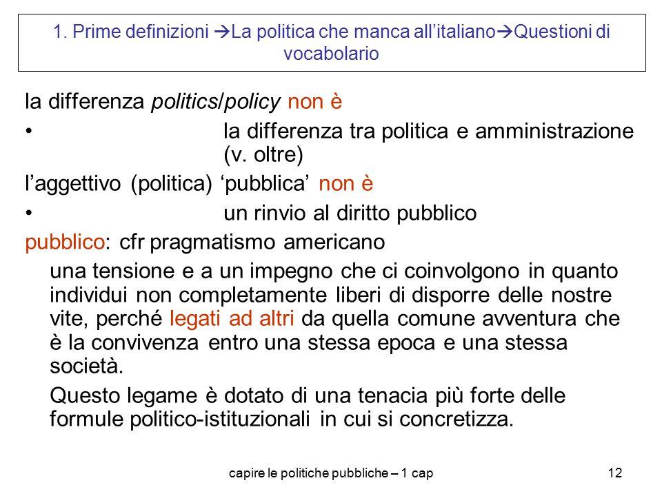 capire le politiche pubbliche – 1 cap12 1. Prime definizioni  La politica che manca all'italiano  Questioni di vocabolario la differenza politics/po