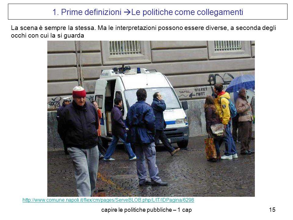 capire le politiche pubbliche – 1 cap15 1. Prime definizioni  Le politiche come collegamenti http://www.comune.napoli.it/flex/cm/pages/ServeBLOB.php/