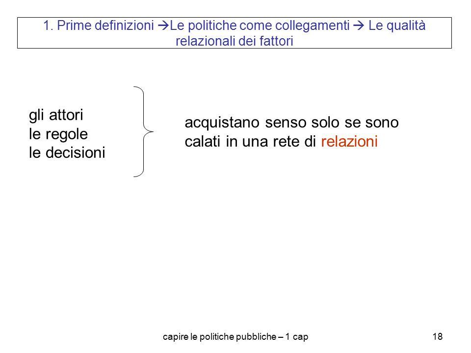 capire le politiche pubbliche – 1 cap18 1. Prime definizioni  Le politiche come collegamenti  Le qualità relazionali dei fattori gli attori le regol