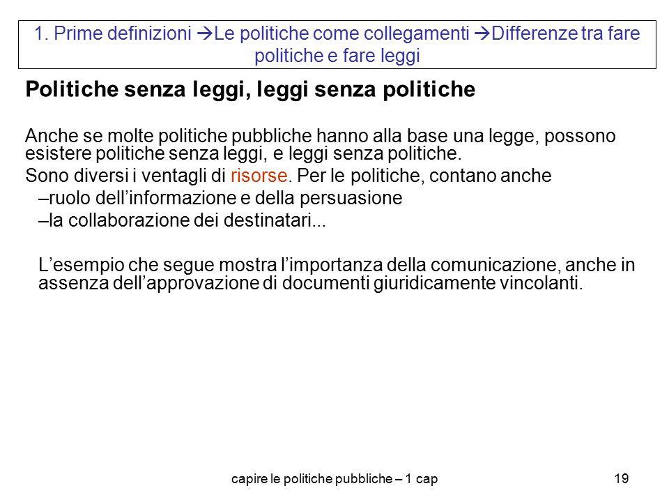 capire le politiche pubbliche – 1 cap19 1. Prime definizioni  Le politiche come collegamenti  Differenze tra fare politiche e fare leggi Politiche s