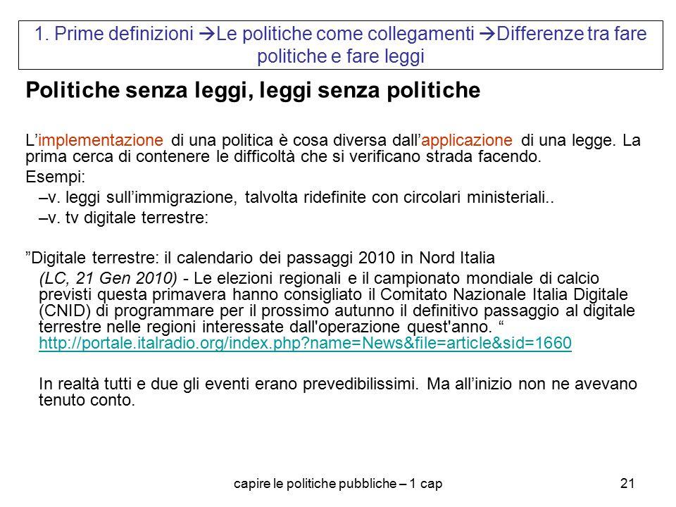 capire le politiche pubbliche – 1 cap21 1. Prime definizioni  Le politiche come collegamenti  Differenze tra fare politiche e fare leggi Politiche s