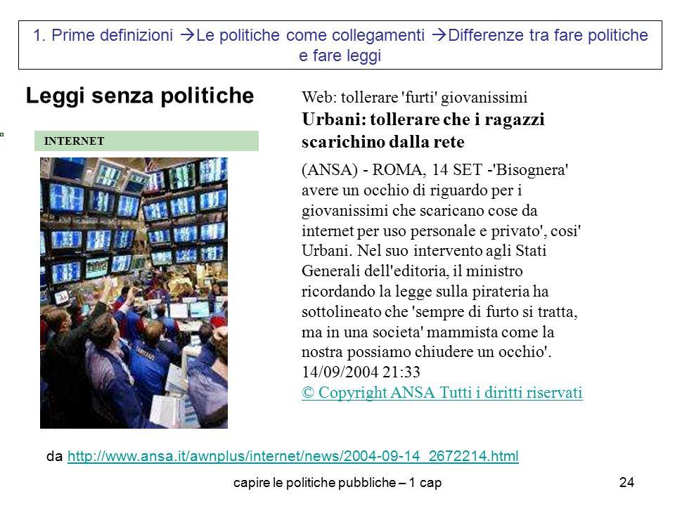 capire le politiche pubbliche – 1 cap24 1. Prime definizioni  Le politiche come collegamenti  Differenze tra fare politiche e fare leggi INTERNET We