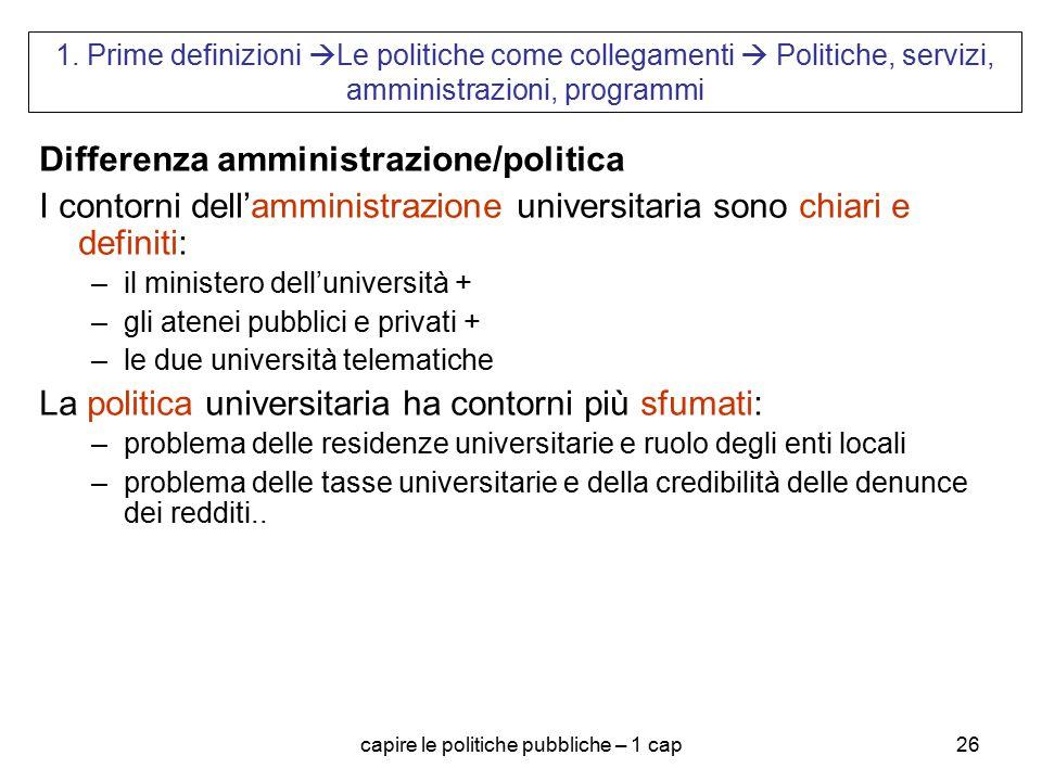 capire le politiche pubbliche – 1 cap26 1. Prime definizioni  Le politiche come collegamenti  Politiche, servizi, amministrazioni, programmi Differe