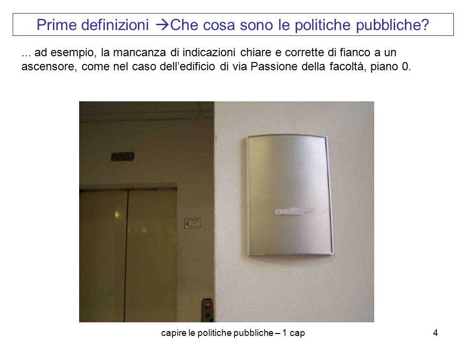 capire le politiche pubbliche – 1 cap4 Prime definizioni  Che cosa sono le politiche pubbliche?... ad esempio, la mancanza di indicazioni chiare e co