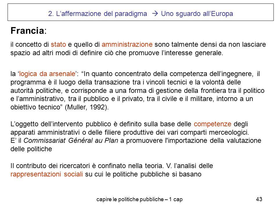 capire le politiche pubbliche – 1 cap43 2. L'affermazione del paradigma  Uno sguardo all'Europa Francia: il concetto di stato e quello di amministraz