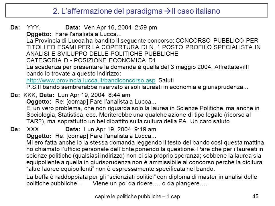 capire le politiche pubbliche – 1 cap45 2. L'affermazione del paradigma  Il caso italiano Da: YYY, Data: Ven Apr 16, 2004 2:59 pm Oggetto: Fare l'ana