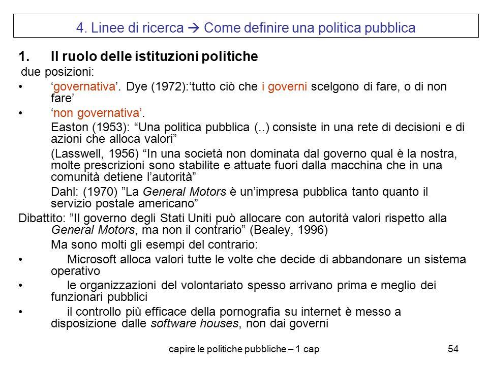 capire le politiche pubbliche – 1 cap54 4. Linee di ricerca  Come definire una politica pubblica 1.Il ruolo delle istituzioni politiche due posizioni