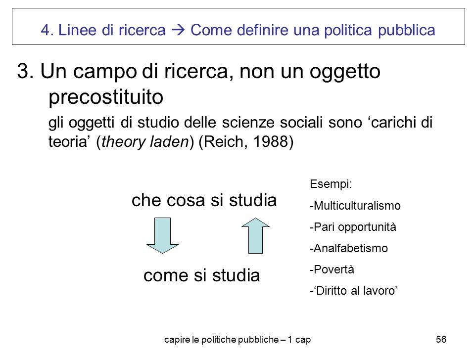 capire le politiche pubbliche – 1 cap56 4. Linee di ricerca  Come definire una politica pubblica 3. Un campo di ricerca, non un oggetto precostituito