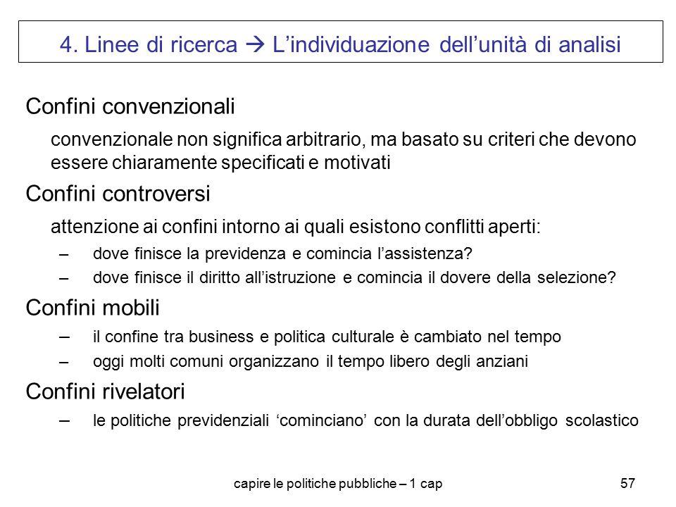 capire le politiche pubbliche – 1 cap57 4. Linee di ricerca  L'individuazione dell'unità di analisi Confini convenzionali convenzionale non significa