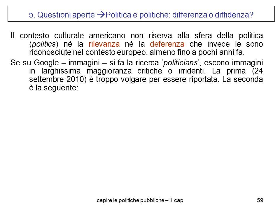 capire le politiche pubbliche – 1 cap59 5. Questioni aperte  Politica e politiche: differenza o diffidenza? Il contesto culturale americano non riser