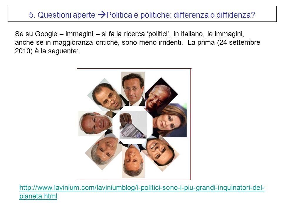 Se su Google – immagini – si fa la ricerca 'politici', in italiano, le immagini, anche se in maggioranza critiche, sono meno irridenti. La prima (24 s