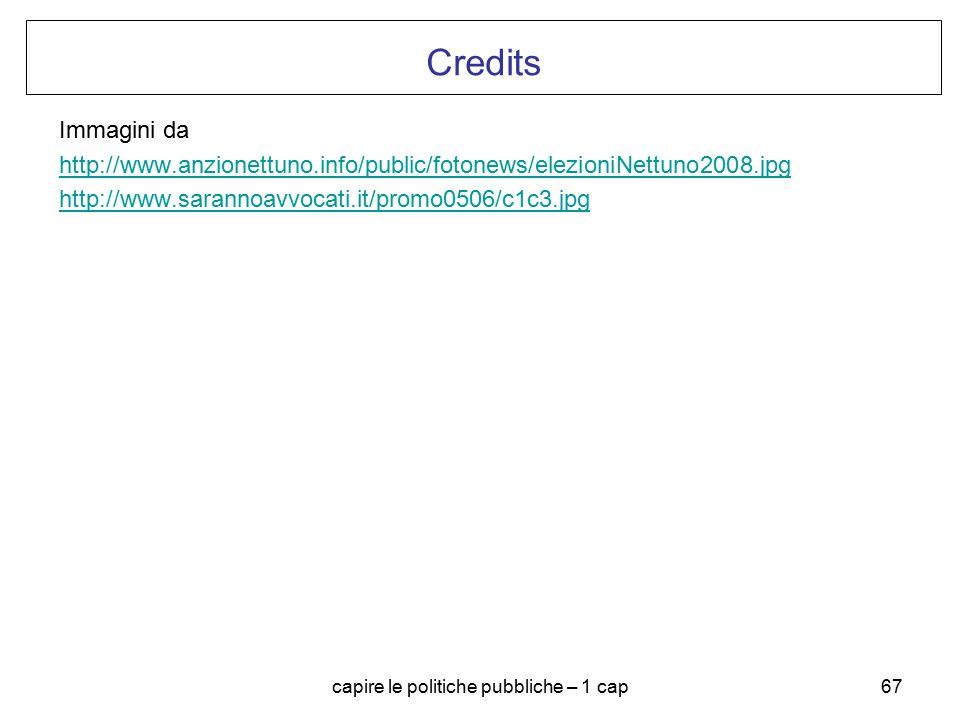 capire le politiche pubbliche – 1 cap67 Credits Immagini da http://www.anzionettuno.info/public/fotonews/elezioniNettuno2008.jpg http://www.sarannoavv