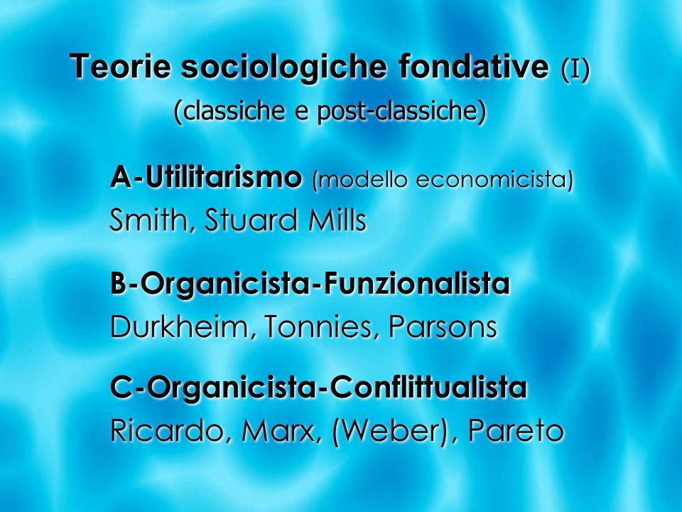 Teorie sociologiche fondative (I) (classiche e post-classiche) A-Utilitarismo (modello economicista) Smith, Stuard Mills B-Organicista-Funzionalista Durkheim, Tonnies, Parsons C-Organicista-Conflittualista Ricardo, Marx, (Weber), Pareto A-Utilitarismo (modello economicista) Smith, Stuard Mills B-Organicista-Funzionalista Durkheim, Tonnies, Parsons C-Organicista-Conflittualista Ricardo, Marx, (Weber), Pareto