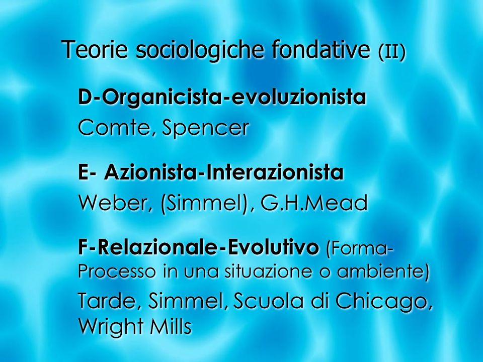 Teorie sociologiche fondative (II) D-Organicista-evoluzionista Comte, Spencer E- Azionista-Interazionista Weber, (Simmel), G.H.Mead F-Relazionale-Evolutivo (Forma- Processo in una situazione o ambiente) Tarde, Simmel, Scuola di Chicago, Wright Mills D-Organicista-evoluzionista Comte, Spencer E- Azionista-Interazionista Weber, (Simmel), G.H.Mead F-Relazionale-Evolutivo (Forma- Processo in una situazione o ambiente) Tarde, Simmel, Scuola di Chicago, Wright Mills