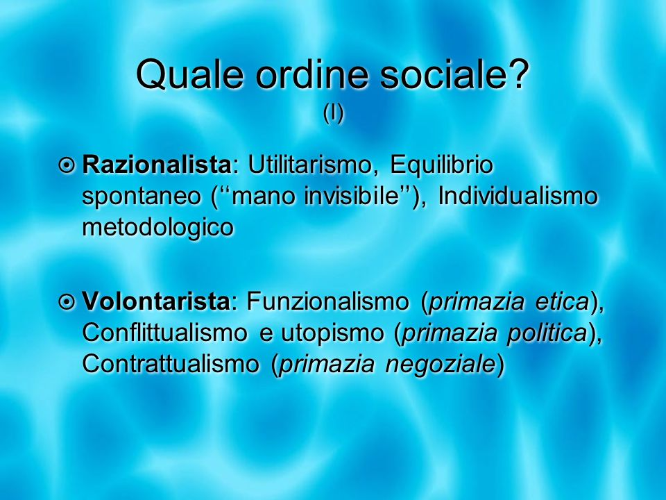 Quale ordine sociale.