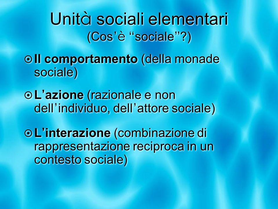 Unit à sociali elementari (Cos 'è sociale )  Il comportamento (della monade sociale)  L ' azione (razionale e non dell ' individuo, dell ' attore sociale)  L ' interazione (combinazione di rappresentazione reciproca in un contesto sociale)  Il comportamento (della monade sociale)  L ' azione (razionale e non dell ' individuo, dell ' attore sociale)  L ' interazione (combinazione di rappresentazione reciproca in un contesto sociale)