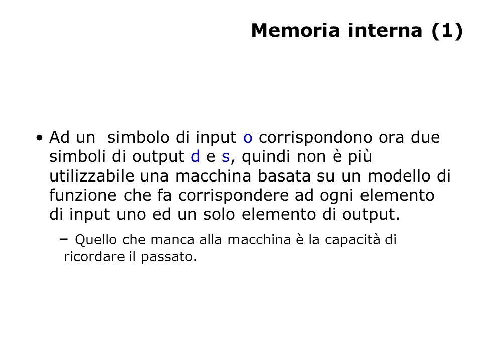 Memoria interna (1) Ad un simbolo di input o corrispondono ora due simboli di output d e s, quindi non è più utilizzabile una macchina basata su un modello di funzione che fa corrispondere ad ogni elemento di input uno ed un solo elemento di output.