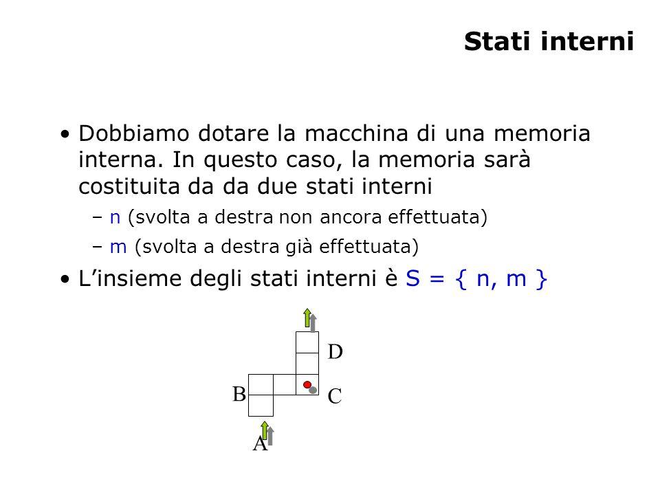 Stati interni Dobbiamo dotare la macchina di una memoria interna. In questo caso, la memoria sarà costituita da da due stati interni – n (svolta a des