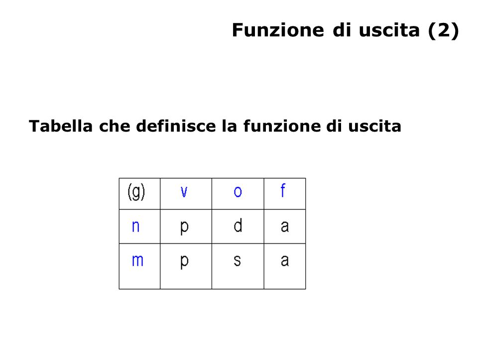 Funzione di uscita (2) Tabella che definisce la funzione di uscita