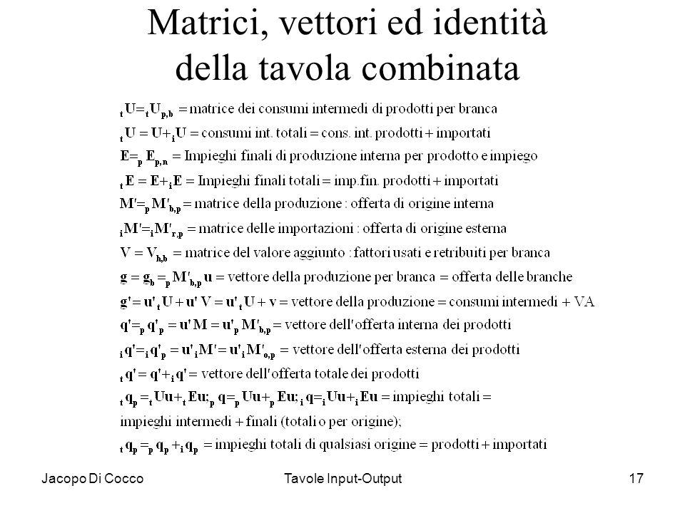 Jacopo Di CoccoTavole Input-Output17 Matrici, vettori ed identità della tavola combinata