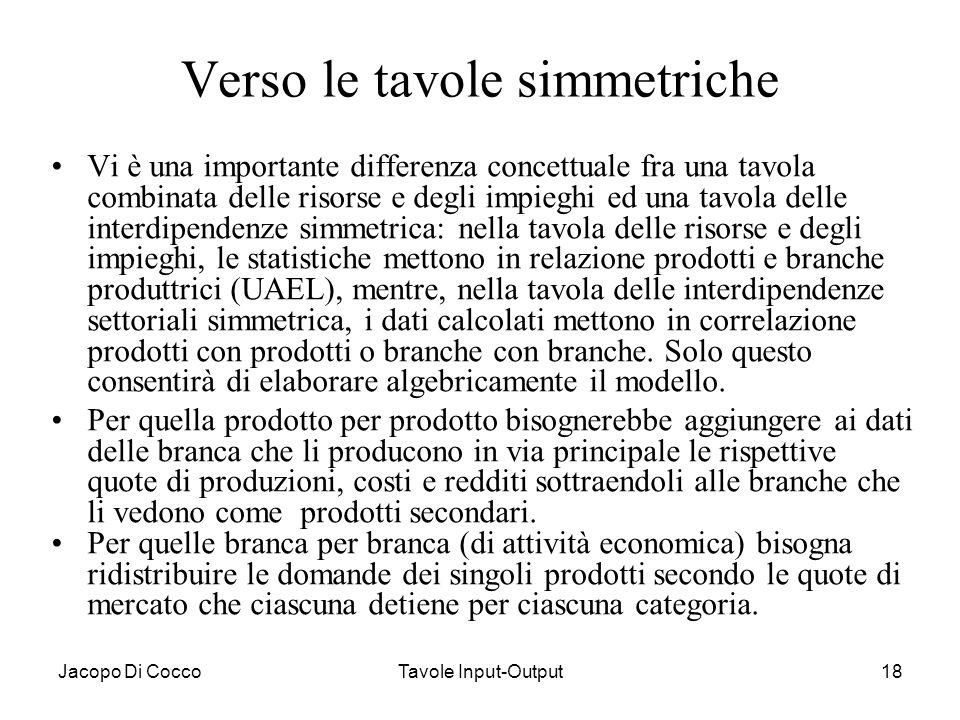Jacopo Di CoccoTavole Input-Output18 Verso le tavole simmetriche Vi è una importante differenza concettuale fra una tavola combinata delle risorse e d