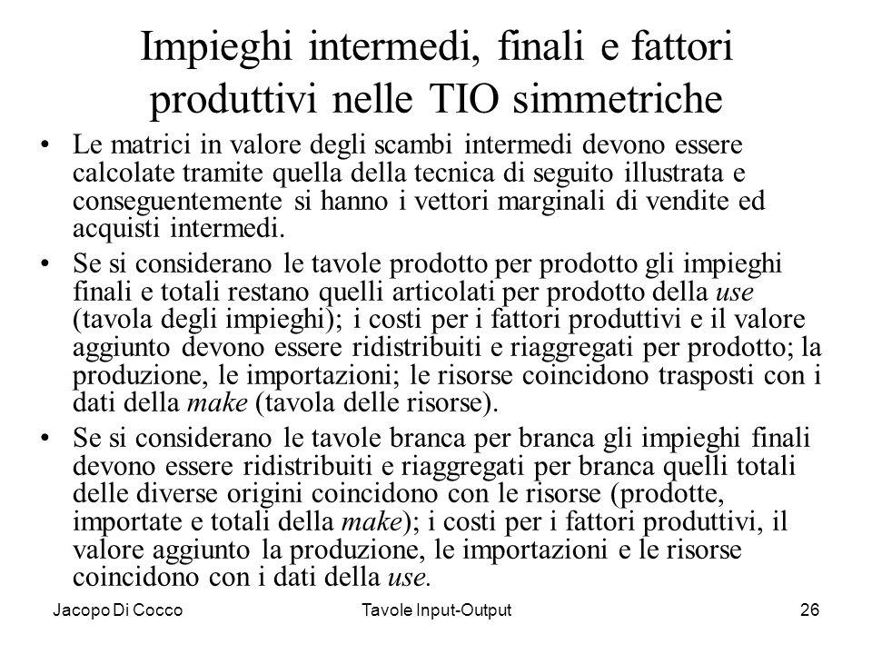 Jacopo Di CoccoTavole Input-Output26 Impieghi intermedi, finali e fattori produttivi nelle TIO simmetriche Le matrici in valore degli scambi intermedi