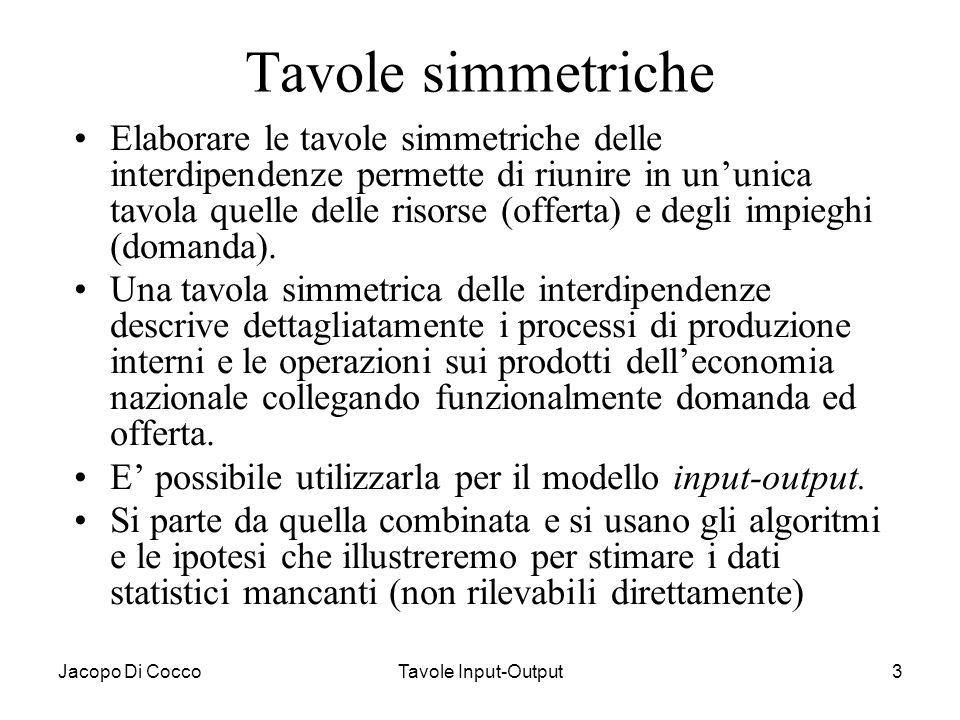 Jacopo Di CoccoTavole Input-Output24 Matrici e vettori delle tavole simmetriche La struttura delle tavole nelle due versioni è identica anche se cambia la classificazione delle righe e delle colonne per prodotto o per branca.