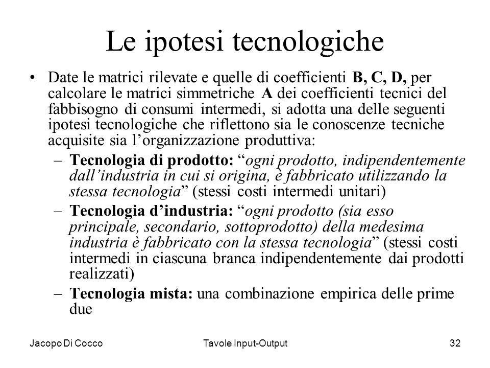 Jacopo Di CoccoTavole Input-Output32 Le ipotesi tecnologiche Date le matrici rilevate e quelle di coefficienti B, C, D, per calcolare le matrici simme