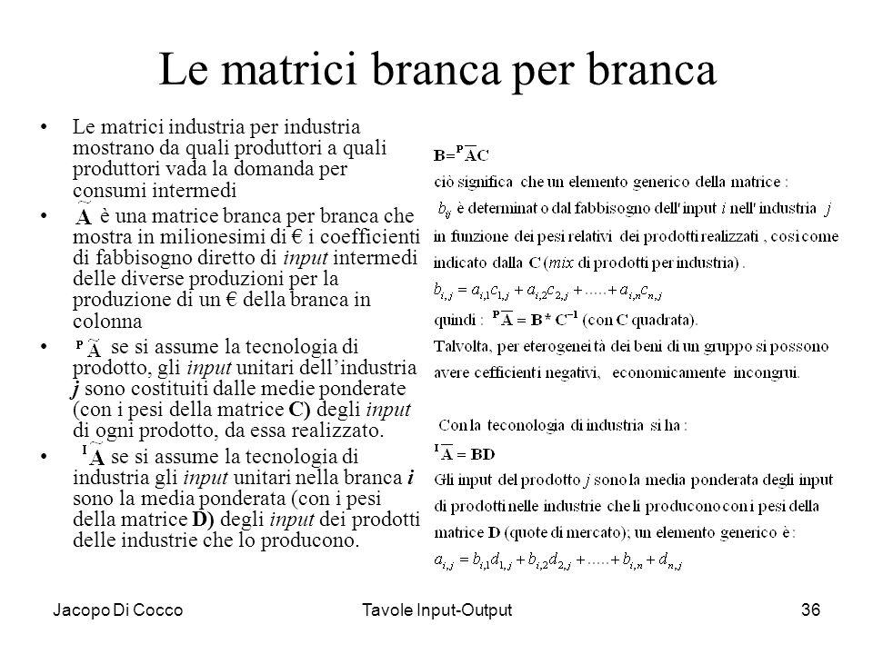 Jacopo Di CoccoTavole Input-Output36 Le matrici branca per branca Le matrici industria per industria mostrano da quali produttori a quali produttori v