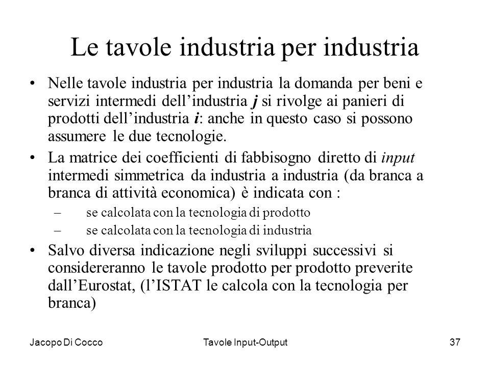 Jacopo Di CoccoTavole Input-Output37 Le tavole industria per industria Nelle tavole industria per industria la domanda per beni e servizi intermedi de
