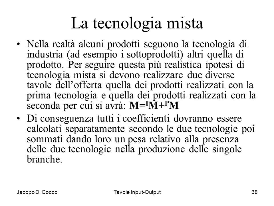 Jacopo Di CoccoTavole Input-Output38 La tecnologia mista Nella realtà alcuni prodotti seguono la tecnologia di industria (ad esempio i sottoprodotti)