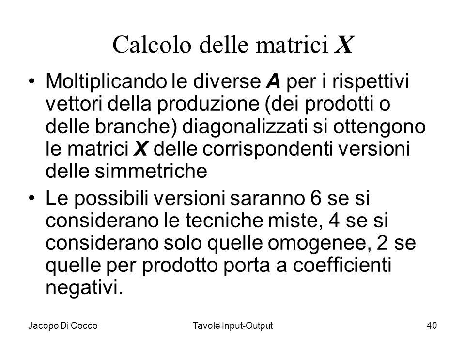 Jacopo Di CoccoTavole Input-Output40 Calcolo delle matrici X Moltiplicando le diverse A per i rispettivi vettori della produzione (dei prodotti o dell
