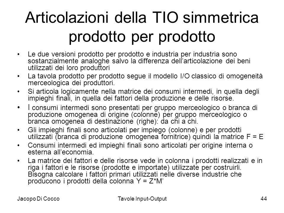 Jacopo Di CoccoTavole Input-Output44 Articolazioni della TIO simmetrica prodotto per prodotto Le due versioni prodotto per prodotto e industria per in