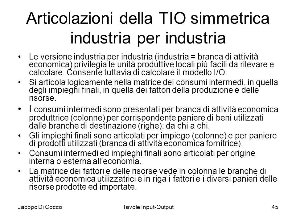 Jacopo Di CoccoTavole Input-Output45 Articolazioni della TIO simmetrica industria per industria Le versione industria per industria (industria = branc